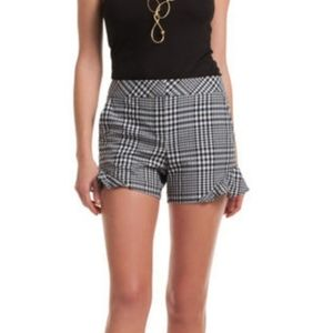 Trina Turk Picnic Plaid Ruffle Shorts Black White